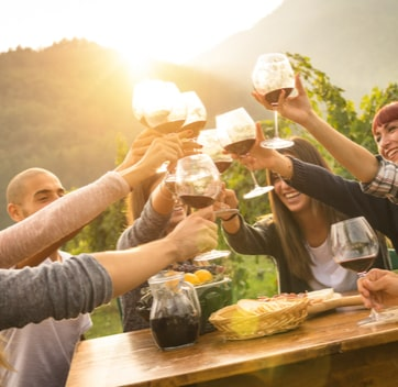 Group glamping holidays, image of cheers