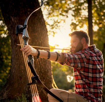 Archery at a corporate glamping getaway