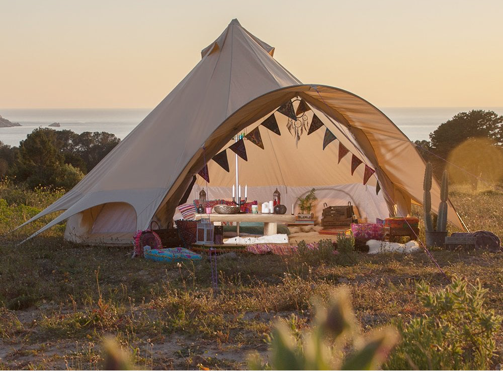 image of bell tent, glamping for large groups